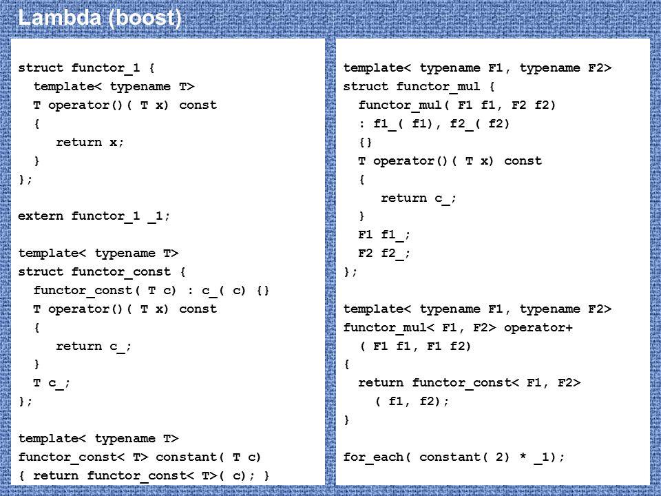 Lambda (boost) struct functor_1 { template T operator()( T x) const { return x; } }; extern functor_1 _1; template struct functor_const { functor_cons