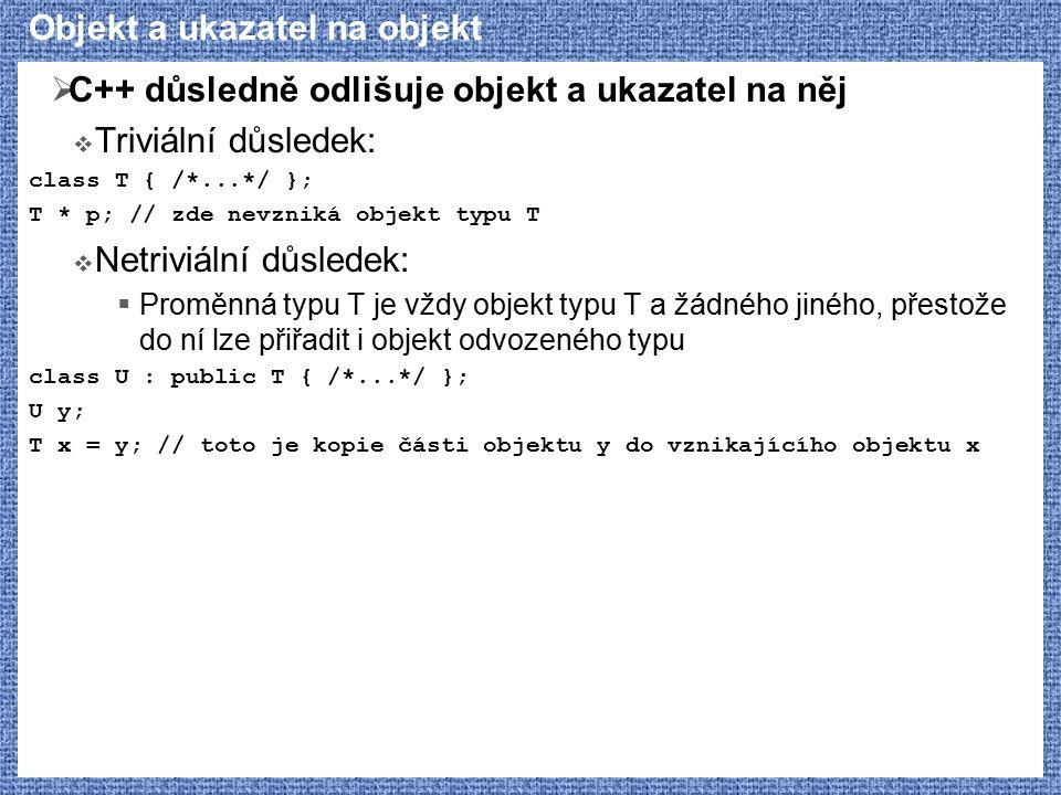 Objekt a ukazatel na objekt  C++ důsledně odlišuje objekt a ukazatel na něj  Triviální důsledek: class T { /*...*/ }; T * p; // zde nevzniká objekt typu T  Netriviální důsledek:  Proměnná typu T je vždy objekt typu T a žádného jiného, přestože do ní lze přiřadit i objekt odvozeného typu class U : public T { /*...*/ }; U y; T x = y; // toto je kopie části objektu y do vznikajícího objektu x