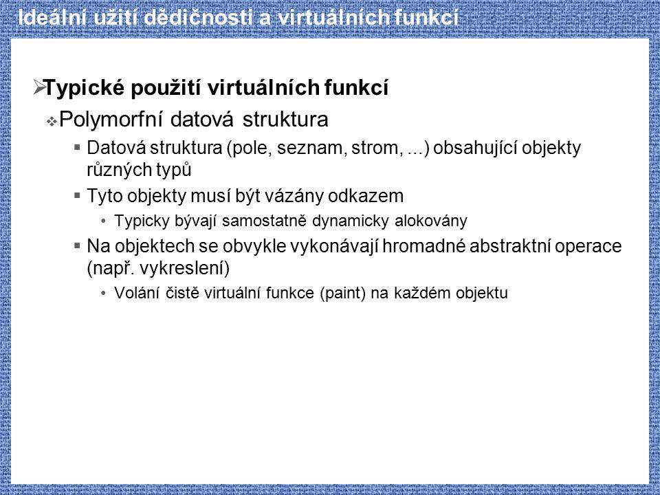 Ideální užití dědičnosti a virtuálních funkcí  Typické použití virtuálních funkcí  Polymorfní datová struktura  Datová struktura (pole, seznam, str