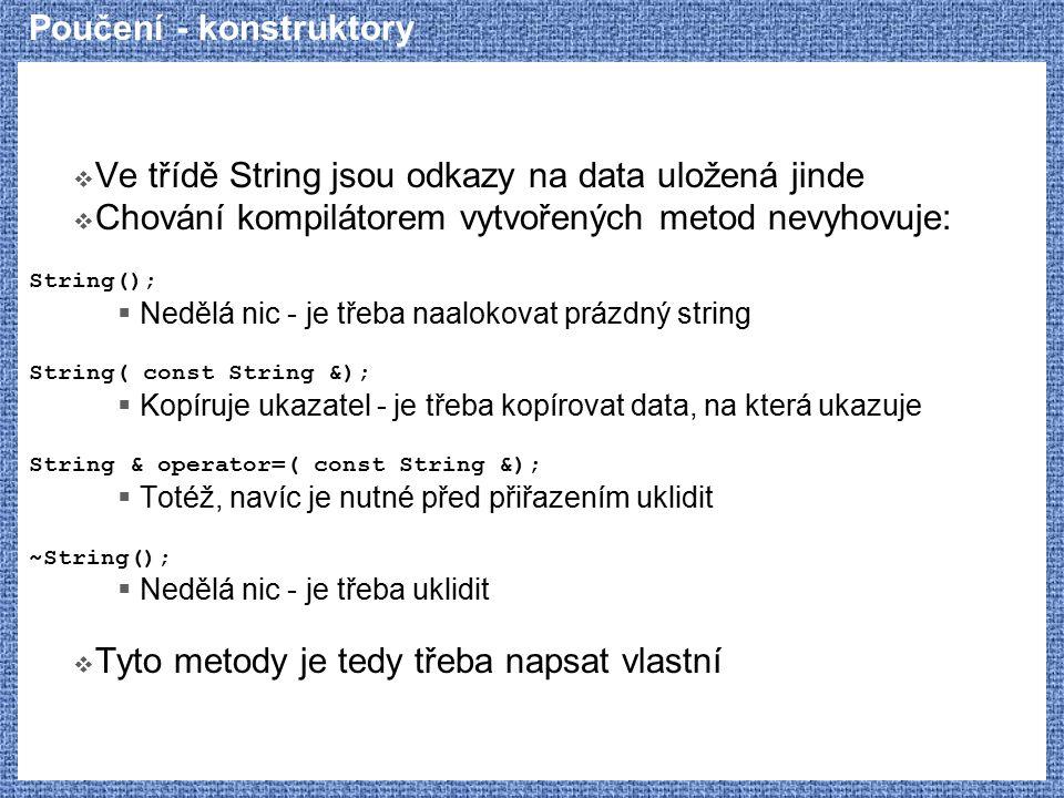 Poučení - konstruktory  Ve třídě String jsou odkazy na data uložená jinde  Chování kompilátorem vytvořených metod nevyhovuje: String();  Nedělá nic - je třeba naalokovat prázdný string String( const String &);  Kopíruje ukazatel - je třeba kopírovat data, na která ukazuje String & operator=( const String &);  Totéž, navíc je nutné před přiřazením uklidit ~String();  Nedělá nic - je třeba uklidit  Tyto metody je tedy třeba napsat vlastní