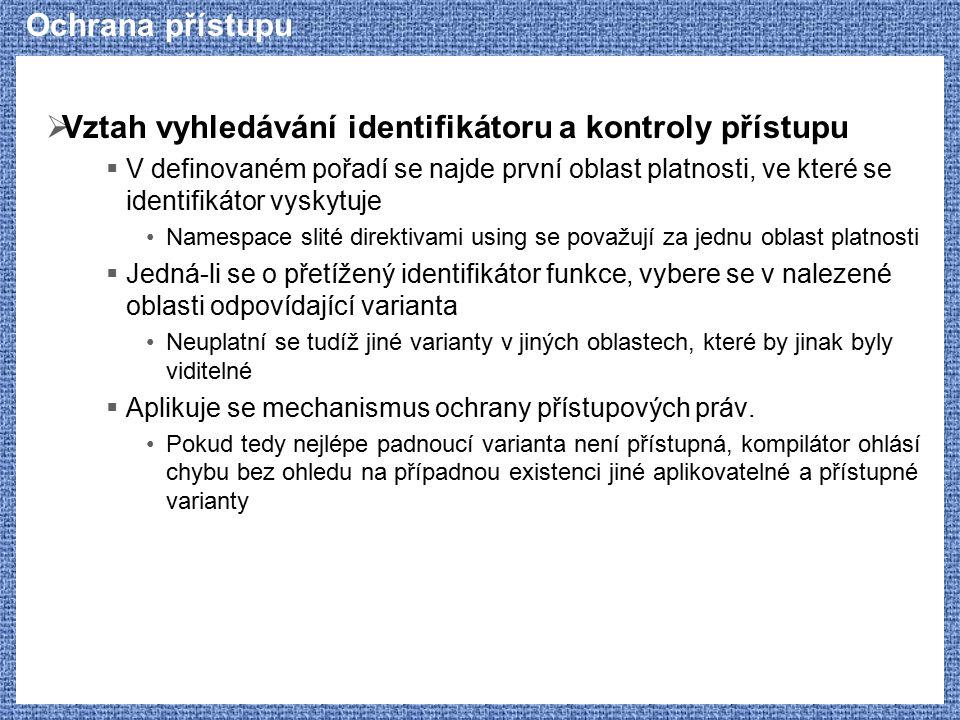 Ochrana přístupu  Vztah vyhledávání identifikátoru a kontroly přístupu  V definovaném pořadí se najde první oblast platnosti, ve které se identifiká