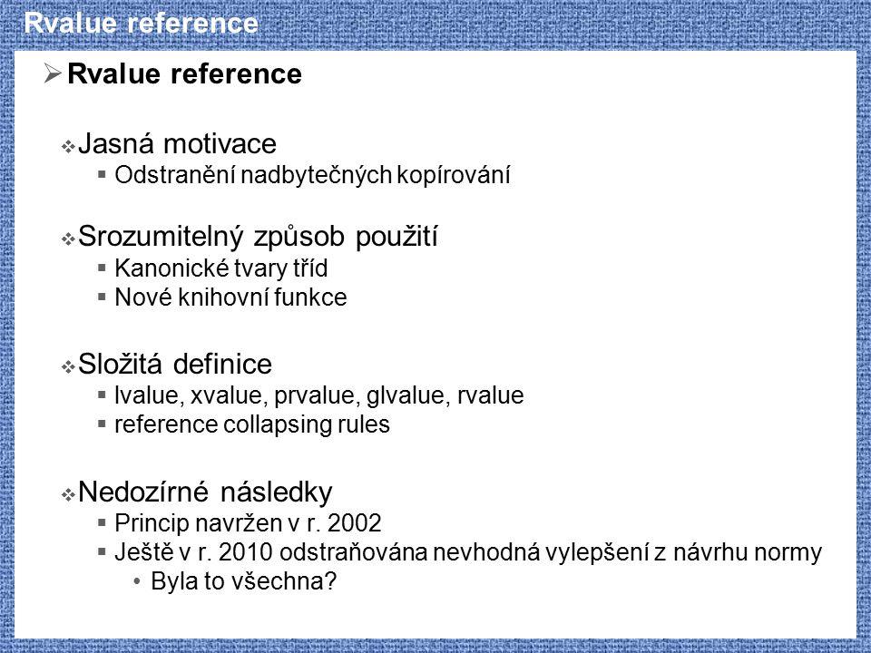 Rvalue reference  Rvalue reference  Jasná motivace  Odstranění nadbytečných kopírování  Srozumitelný způsob použití  Kanonické tvary tříd  Nové