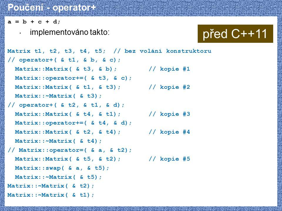 Poučení - operator+ a = b + c + d; implementováno takto: Matrix t1, t2, t3, t4, t5; // bez volání konstruktoru // operator+( & t1, & b, & c); Matrix::Matrix( & t3, & b);// kopie #1 Matrix::operator+=( & t3, & c); Matrix::Matrix( & t1, & t3);// kopie #2 Matrix::~Matrix( & t3); // operator+( & t2, & t1, & d); Matrix::Matrix( & t4, & t1);// kopie #3 Matrix::operator+=( & t4, & d); Matrix::Matrix( & t2, & t4);// kopie #4 Matrix::~Matrix( & t4); // Matrix::operator=( & a, & t2); Matrix::Matrix( & t5, & t2);// kopie #5 Matrix::swap( & a, & t5); Matrix::~Matrix( & t5); Matrix::~Matrix( & t2); Matrix::~Matrix( & t1); před C++11