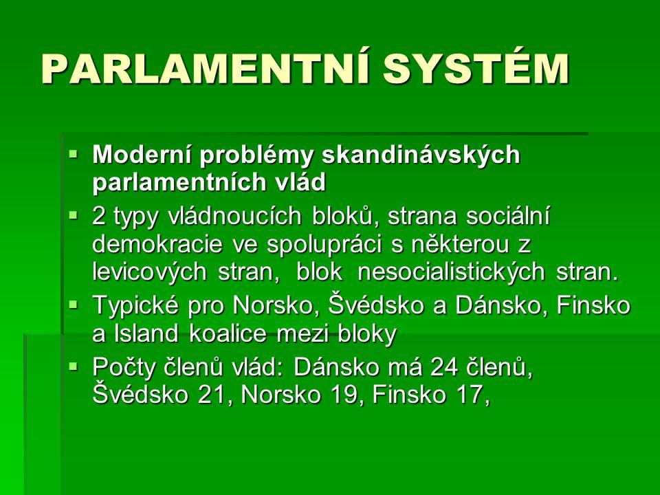 PARLAMENTNÍ SYSTÉM  Moderní problémy skandinávských parlamentních vlád  2 typy vládnoucích bloků, strana sociální demokracie ve spolupráci s některou z levicových stran, blok nesocialistických stran.
