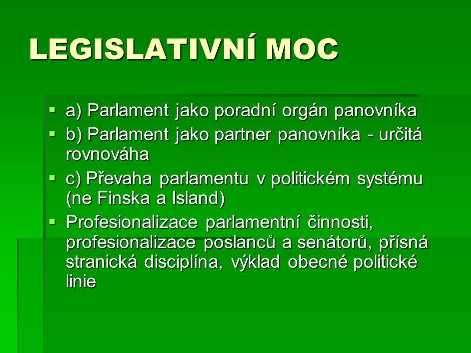 LEGISLATIVNÍ MOC  a) Parlament jako poradní orgán panovníka  b) Parlament jako partner panovníka - určitá rovnováha  c) Převaha parlamentu v politickém systému (ne Finska a Island)  Profesionalizace parlamentní činnosti, profesionalizace poslanců a senátorů, přísná stranická disciplína, výklad obecné politické linie