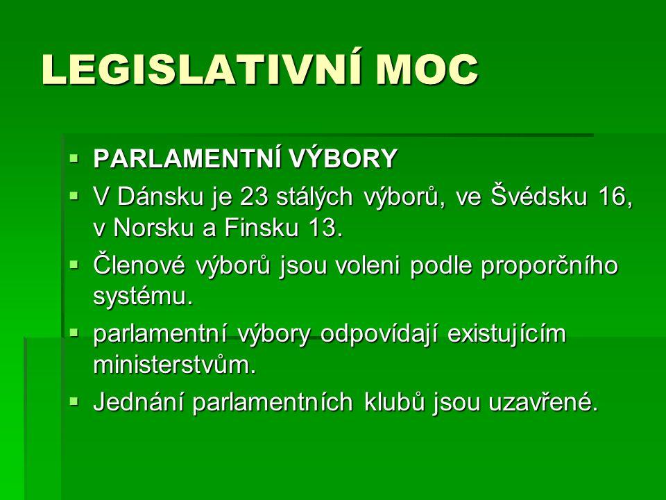 LEGISLATIVNÍ MOC  PARLAMENTNÍ VÝBORY  V Dánsku je 23 stálých výborů, ve Švédsku 16, v Norsku a Finsku 13.  Členové výborů jsou voleni podle proporč