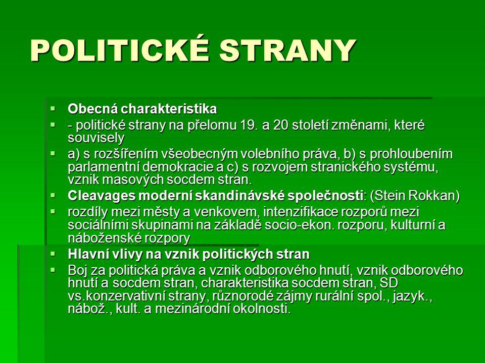 POLITICKÉ STRANY  Obecná charakteristika  - politické strany na přelomu 19. a 20 století změnami, které souvisely  a) s rozšířením všeobecným voleb