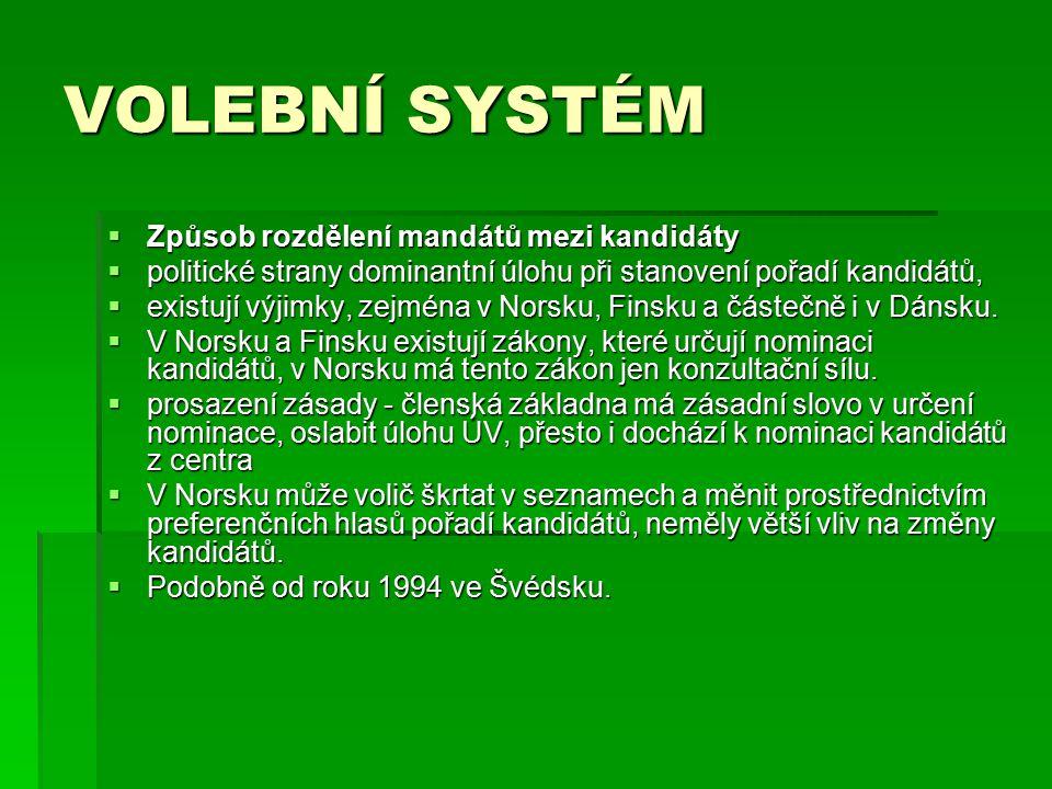 VOLEBNÍ SYSTÉM  Způsob rozdělení mandátů mezi kandidáty  politické strany dominantní úlohu při stanovení pořadí kandidátů,  existují výjimky, zejména v Norsku, Finsku a částečně i v Dánsku.