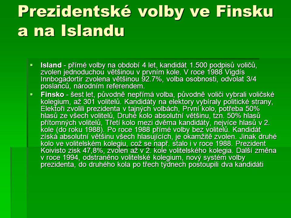 Prezidentské volby ve Finsku a na Islandu  Island - přímé volby na období 4 let, kandidát 1.500 podpisů voličů, zvolen jednoduchou většinou v prvním kole.