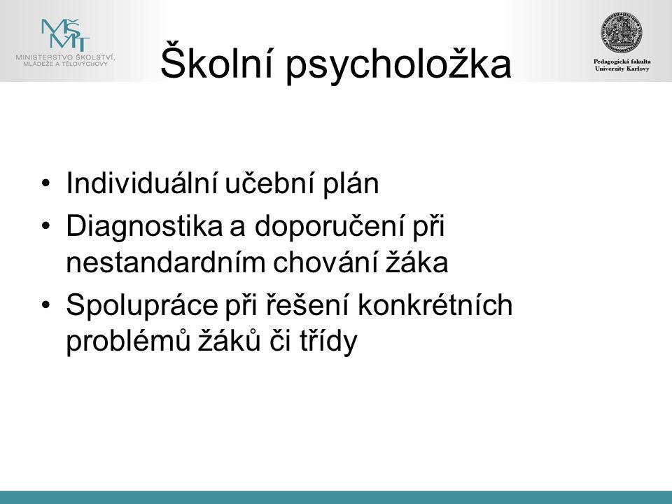 Školní psycholožka Individuální učební plán Diagnostika a doporučení při nestandardním chování žáka Spolupráce při řešení konkrétních problémů žáků či