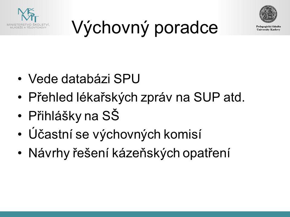 Výchovný poradce Vede databázi SPU Přehled lékařských zpráv na SUP atd.