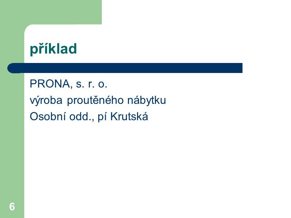 6 příklad PRONA, s. r. o. výroba proutěného nábytku Osobní odd., pí Krutská