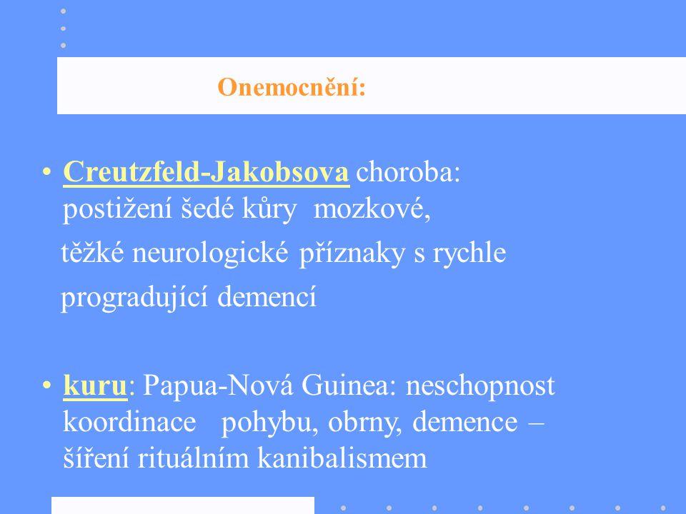 Onemocnění: Creutzfeld-Jakobsova choroba: postižení šedé kůry mozkové, těžké neurologické příznaky s rychle progradující demencí kuru: Papua-Nová Guin