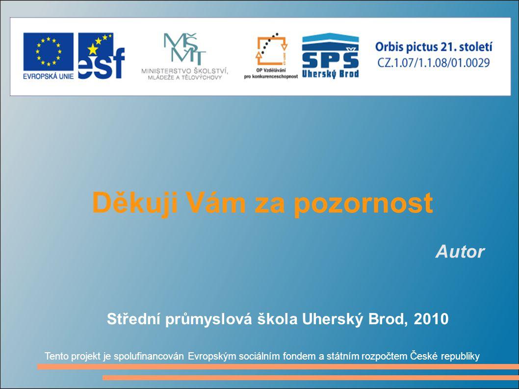 Děkuji Vám za pozornost Autor Tento projekt je spolufinancován Evropským sociálním fondem a státním rozpočtem České republiky Střední průmyslová škola