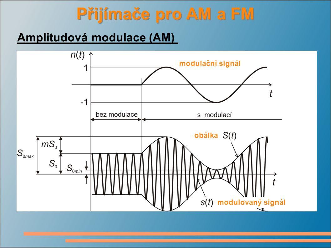 Přijímače pro AM a FM Amplitudová modulace (AM) modulační signál modulovaný signál obálka