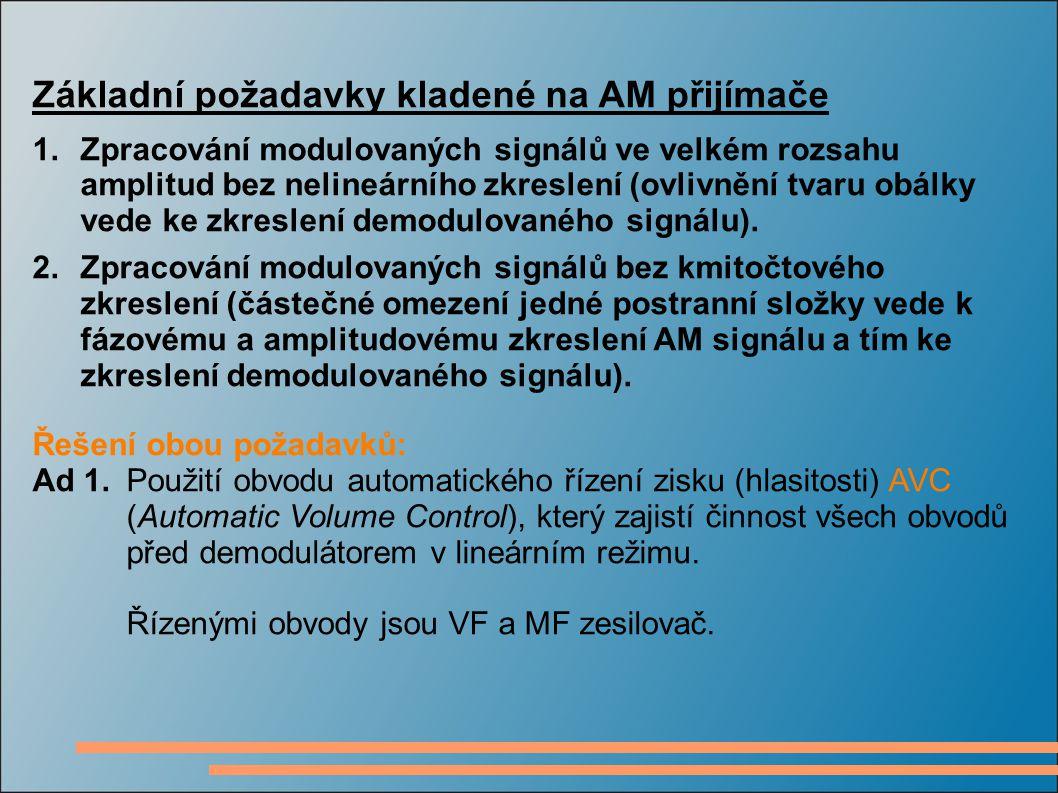 Základní požadavky kladené na AM přijímače 1.Zpracování modulovaných signálů ve velkém rozsahu amplitud bez nelineárního zkreslení (ovlivnění tvaru ob