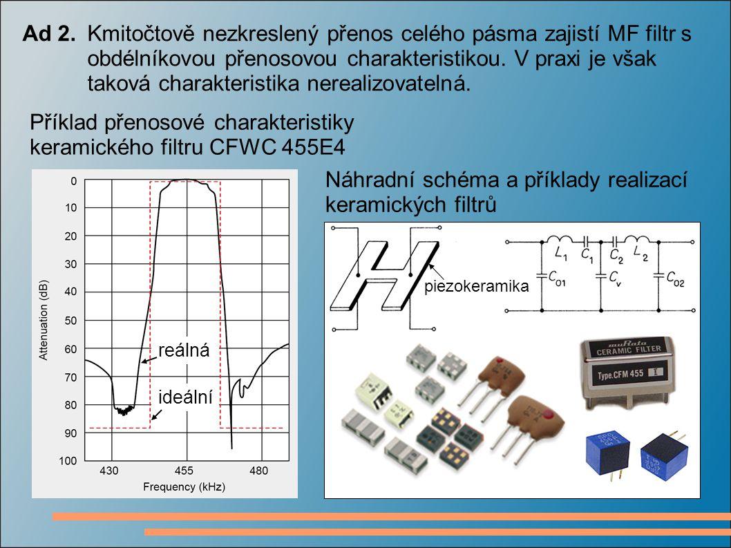 Ad 2.Kmitočtově nezkreslený přenos celého pásma zajistí MF filtr s obdélníkovou přenosovou charakteristikou. V praxi je však taková charakteristika ne