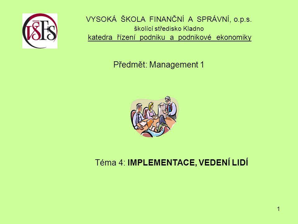 1 Předmět: Management 1 Téma 4: IMPLEMENTACE, VEDENÍ LIDÍ VYSOKÁ ŠKOLA FINANČNÍ A SPRÁVNÍ, o.p.s.