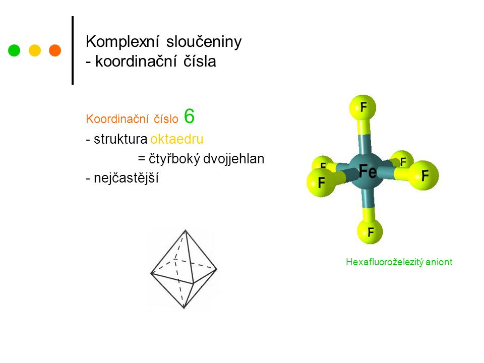 Komplexní sloučeniny - koordinační čísla Koordinační číslo 6 - struktura oktaedru = čtyřboký dvojjehlan - nejčastější Hexafluoroželezitý aniont