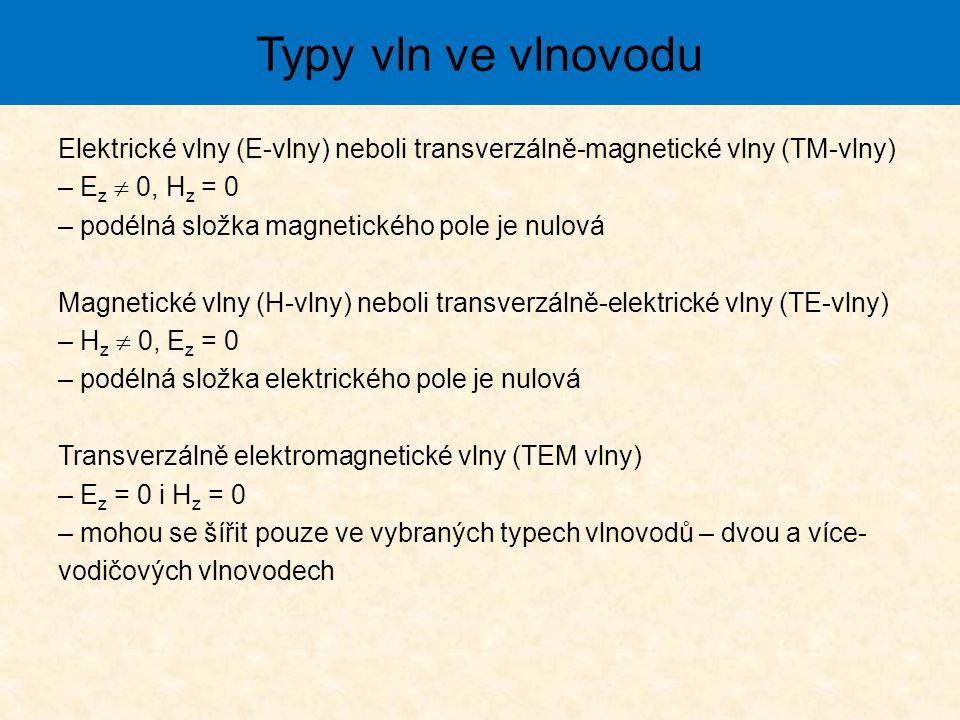 Elektrické vlny (E-vlny) neboli transverzálně-magnetické vlny (TM-vlny) – E z  0, H z = 0 – podélná složka magnetického pole je nulová Magnetické vlny (H-vlny) neboli transverzálně-elektrické vlny (TE-vlny) – H z  0, E z = 0 – podélná složka elektrického pole je nulová Transverzálně elektromagnetické vlny (TEM vlny) – E z = 0 i H z = 0 – mohou se šířit pouze ve vybraných typech vlnovodů – dvou a více- vodičových vlnovodech Typy vln ve vlnovodu
