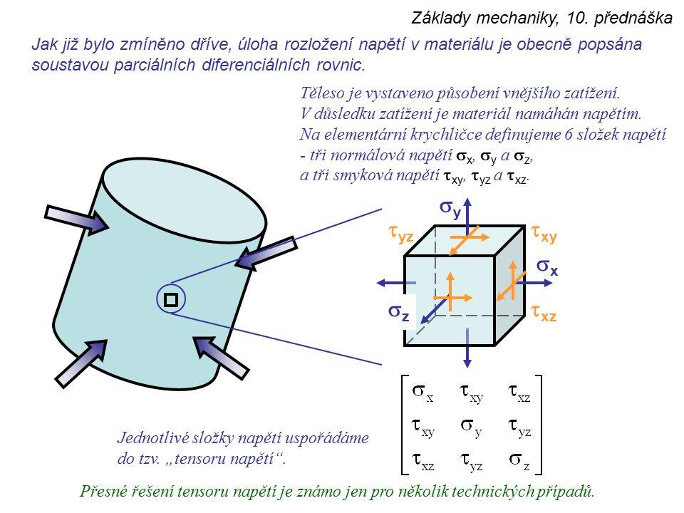 Základy mechaniky, 10. přednáška Jak již bylo zmíněno dříve, úloha rozložení napětí v materiálu je obecně popsána soustavou parciálních diferenciálníc