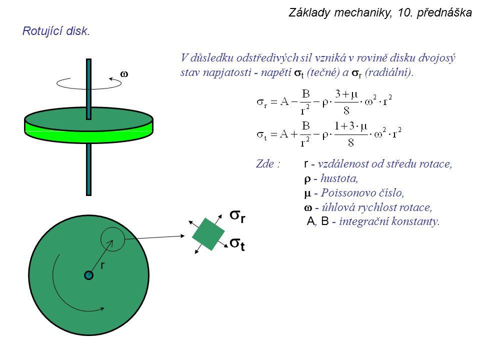 Základy mechaniky, 10. přednáška rr tt Rotující disk.  V důsledku odstředivých sil vzniká v rovině disku dvojosý stav napjatosti - napětí  t (te