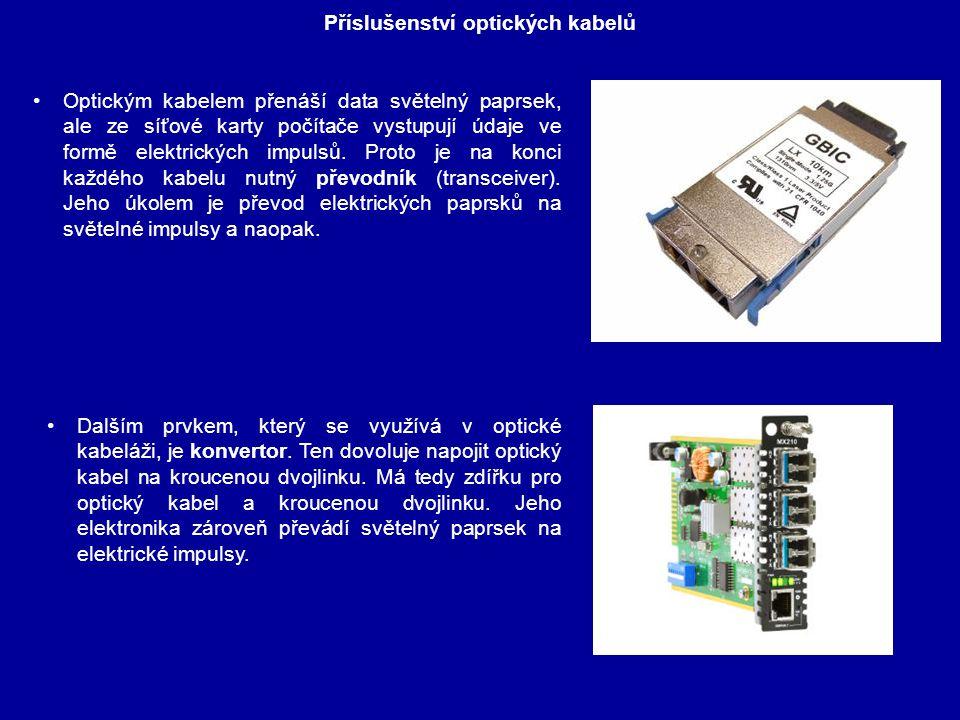 Příslušenství optických kabelů Dalším prvkem, který se využívá v optické kabeláži, je konvertor. Ten dovoluje napojit optický kabel na kroucenou dvojl