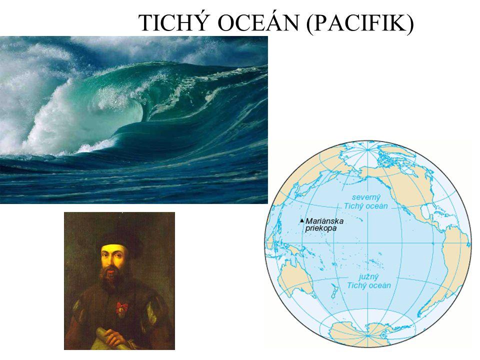 Najdi na mapě Kterými oceány a světadíly je Tichý oceán ohraničen.