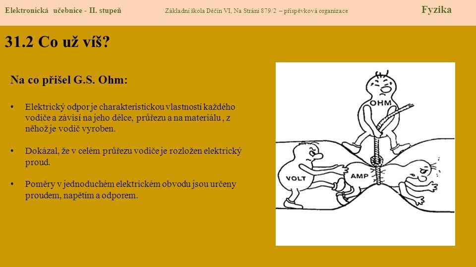31.2 Co už víš? Elektronická učebnice - II. stupeň Základní škola Děčín VI, Na Stráni 879/2 – příspěvková organizace Fyzika Na co přišel G.S. Ohm: Ele