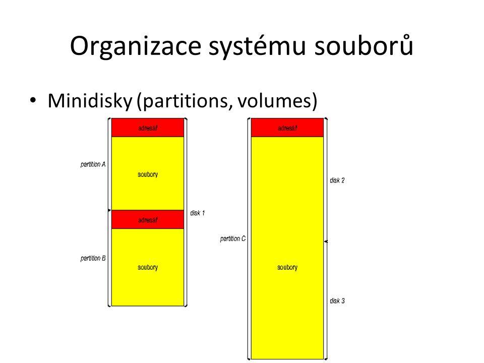 Organizace systému souborů Minidisky (partitions, volumes)