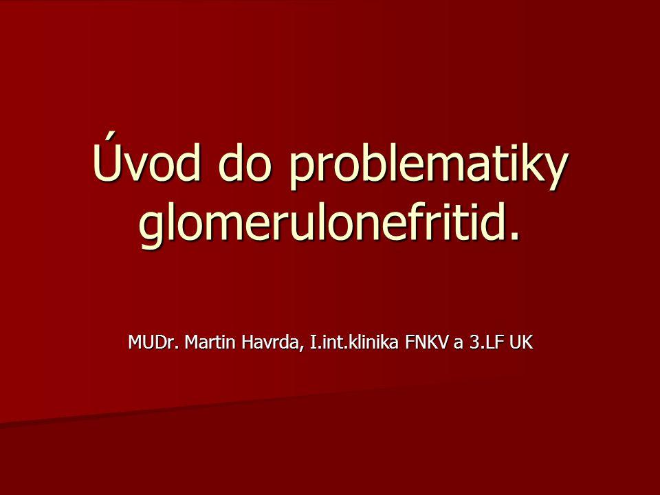 Úvod do problematiky glomerulonefritid. MUDr. Martin Havrda, I.int.klinika FNKV a 3.LF UK