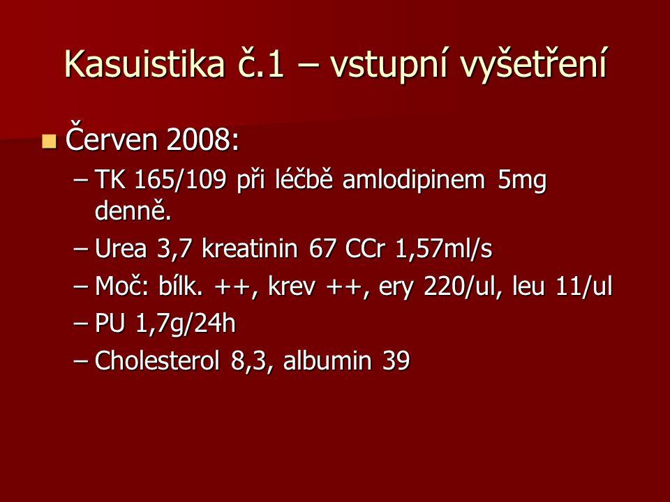Kasuistika č.1 – vstupní vyšetření Červen 2008: Červen 2008: –TK 165/109 při léčbě amlodipinem 5mg denně. –Urea 3,7 kreatinin 67 CCr 1,57ml/s –Moč: bí