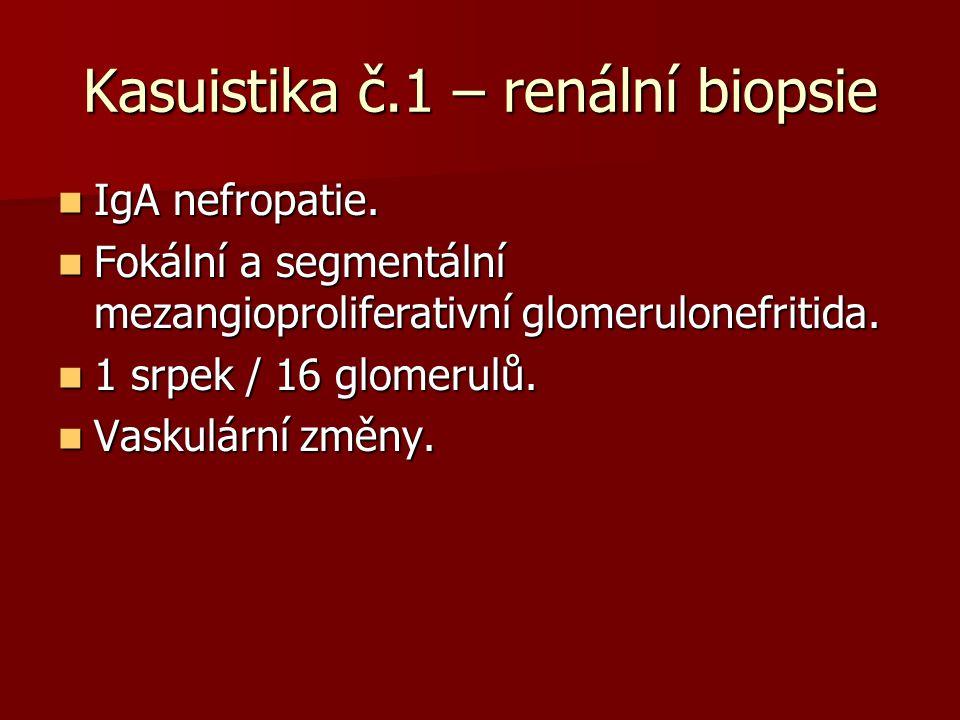 Kasuistika č.1 – renální biopsie IgA nefropatie. IgA nefropatie. Fokální a segmentální mezangioproliferativní glomerulonefritida. Fokální a segmentáln