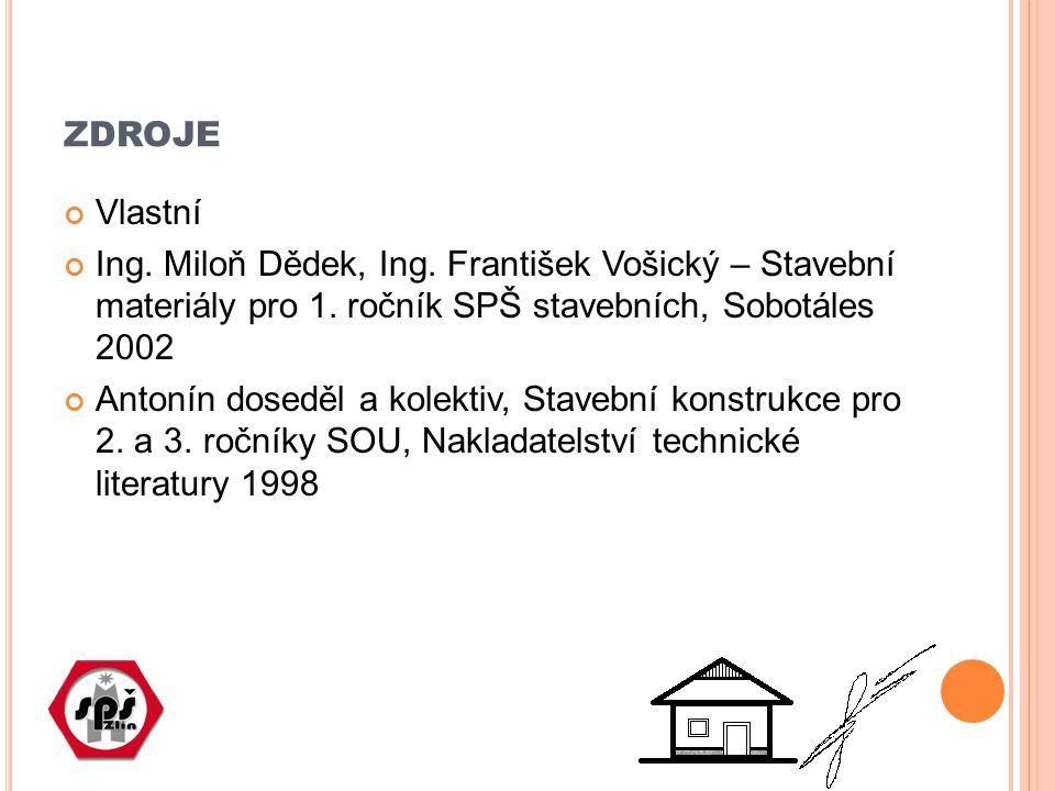ZDROJE Vlastní Ing. Miloň Dědek, Ing. František Vošický – Stavební materiály pro 1. ročník SPŠ stavebních, Sobotáles 2002 Antonín doseděl a kolektiv,