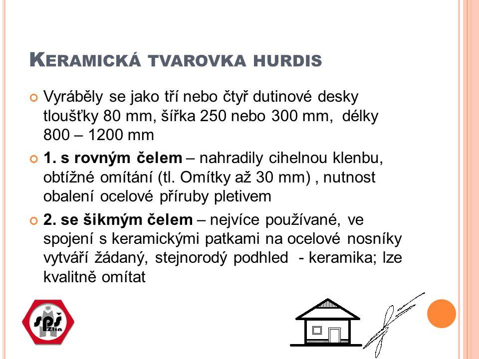 K ERAMICKÁ TVAROVKA HURDIS Vyráběly se jako tří nebo čtyř dutinové desky tloušťky 80 mm, šířka 250 nebo 300 mm, délky 800 – 1200 mm 1. s rovným čelem