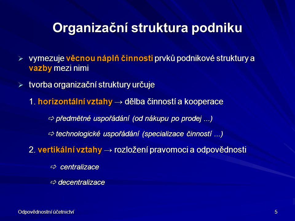Odpovědnostní účetnictví 5 Organizační struktura podniku  vymezuje věcnou náplň činnosti prvků podnikové struktury a vazby mezi nimi  tvorba organiz