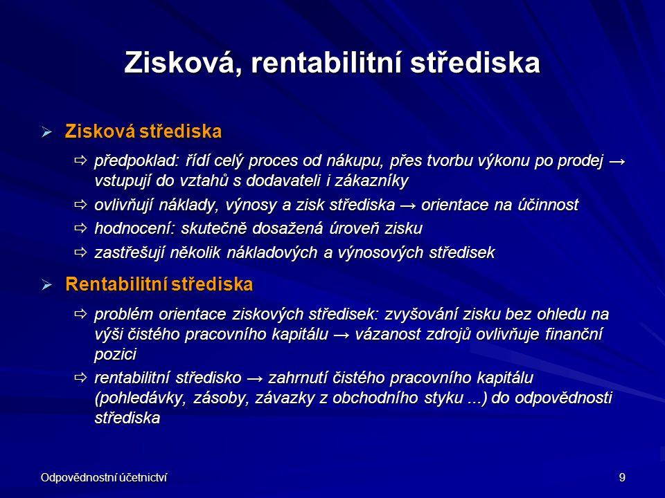 Odpovědnostní účetnictví 9 Zisková, rentabilitní střediska  Zisková střediska  předpoklad: řídí celý proces od nákupu, přes tvorbu výkonu po prodej