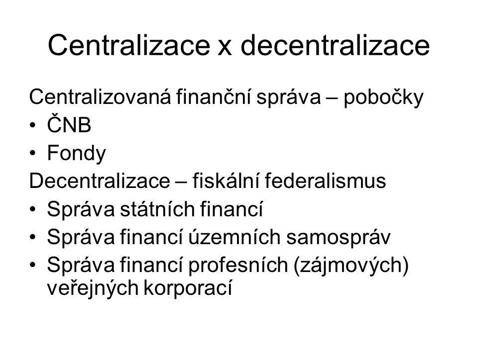 Centralizace x decentralizace Centralizovaná finanční správa – pobočky ČNB Fondy Decentralizace – fiskální federalismus Správa státních financí Správa financí územních samospráv Správa financí profesních (zájmových) veřejných korporací