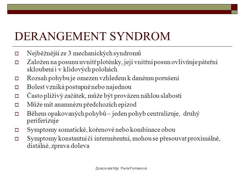 Zpracovala Mgr. Pavla Formanová DERANGEMENT SYNDROM  Nejběžnější ze 3 mechanických syndromů  Založen na posunu uvnitř ploténky, její vnitřní posun o