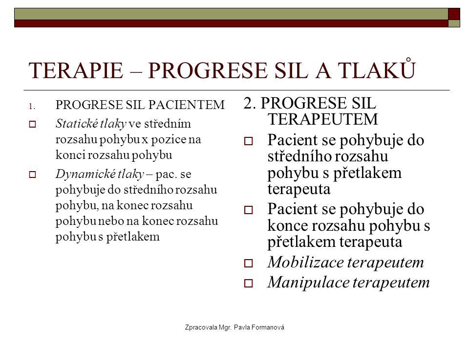 Zpracovala Mgr. Pavla Formanová TERAPIE – PROGRESE SIL A TLAKŮ 1. PROGRESE SIL PACIENTEM  Statické tlaky ve středním rozsahu pohybu x pozice na konci
