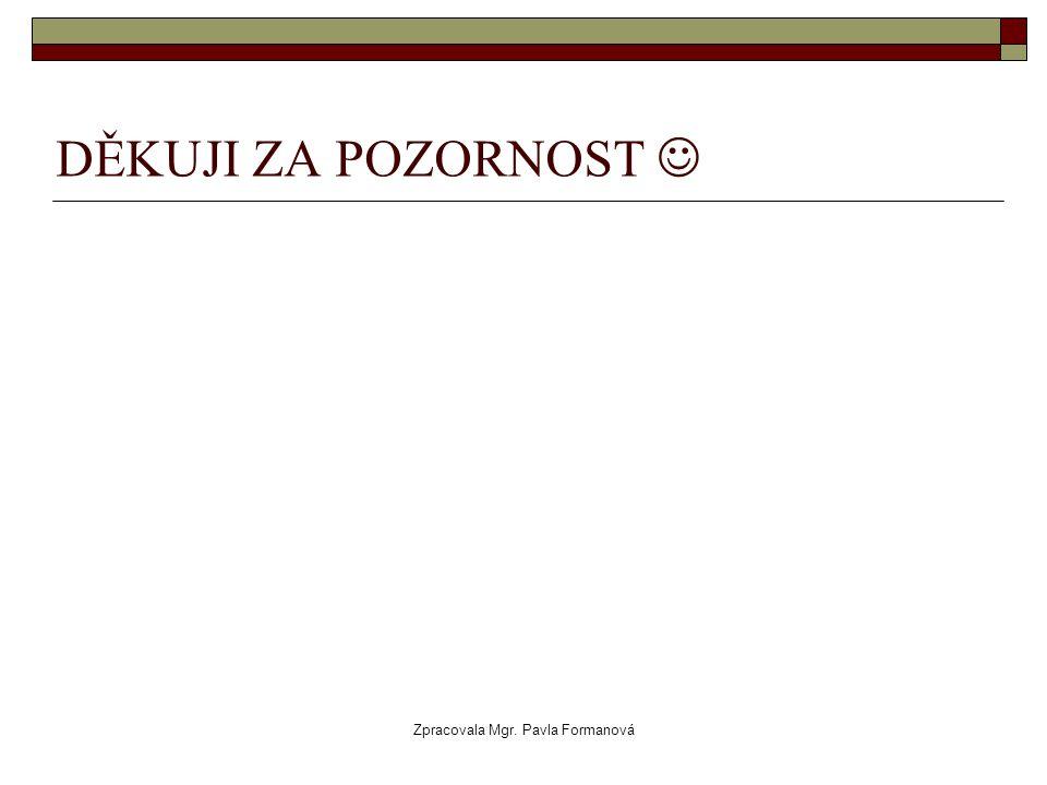 Zpracovala Mgr. Pavla Formanová DĚKUJI ZA POZORNOST