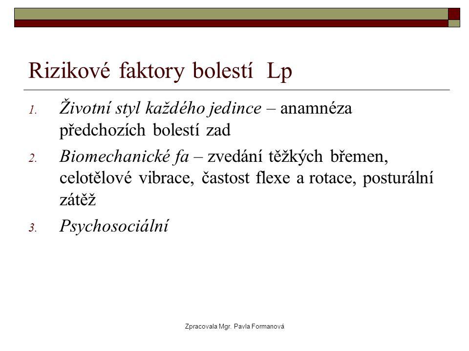Zpracovala Mgr. Pavla Formanová Rizikové faktory bolestí Lp 1. Životní styl každého jedince – anamnéza předchozích bolestí zad 2. Biomechanické fa – z