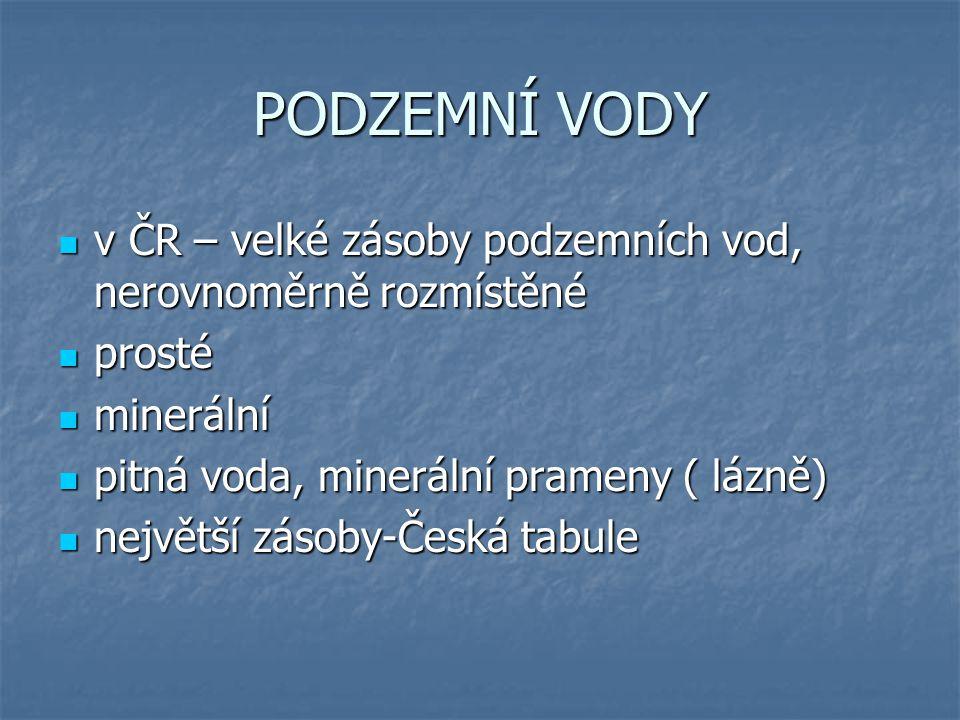 PODZEMNÍ VODY v ČR – velké zásoby podzemních vod, nerovnoměrně rozmístěné v ČR – velké zásoby podzemních vod, nerovnoměrně rozmístěné prosté prosté mi