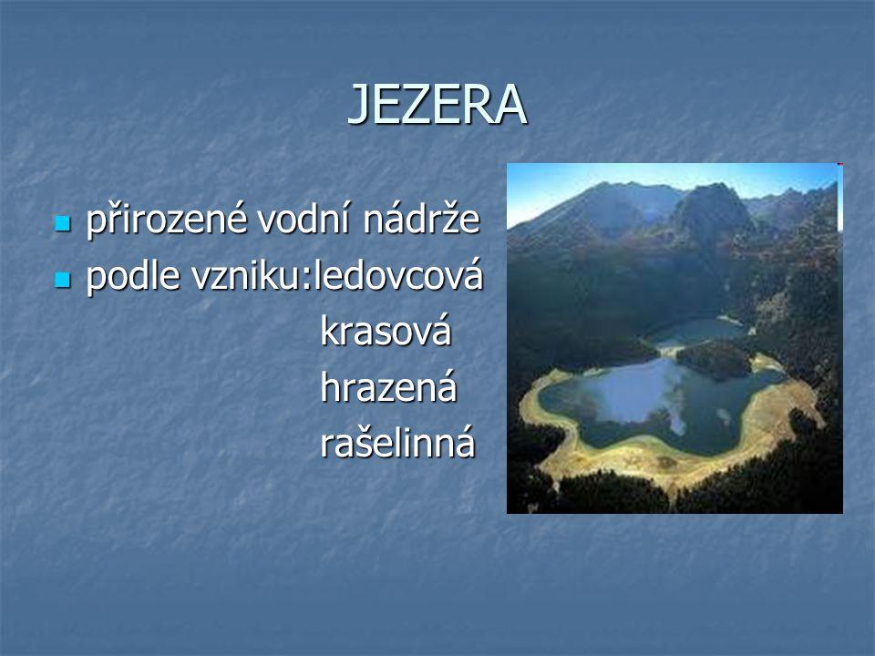 JEZERA přirozené vodní nádrže přirozené vodní nádrže podle vzniku:ledovcová podle vzniku:ledovcová krasová krasová hrazená hrazená rašelinná rašelinná