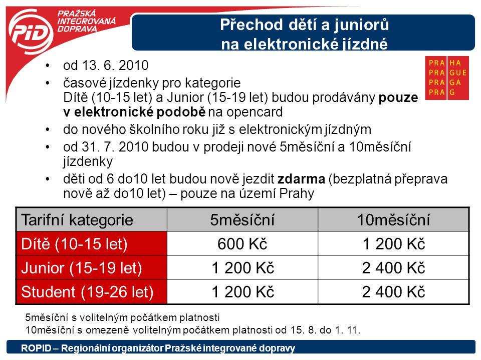 Přechod dětí a juniorů na elektronické jízdné od 13. 6. 2010 časové jízdenky pro kategorie Dítě (10-15 let) a Junior (15-19 let) budou prodávány pouze