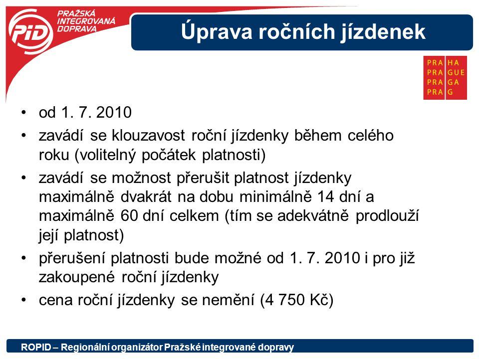 Úprava ročních jízdenek od 1. 7. 2010 zavádí se klouzavost roční jízdenky během celého roku (volitelný počátek platnosti) zavádí se možnost přerušit p