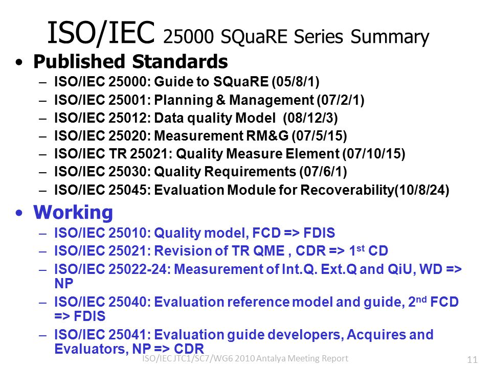 11 ISO/IEC 25000 SQuaRE Series Summary Published Standards –ISO/IEC 25000: Guide to SQuaRE (05/8/1) –ISO/IEC 25001: Planning & Management (07/2/1) –ISO/IEC 25012: Data quality Model (08/12/3) –ISO/IEC 25020: Measurement RM&G (07/5/15) –ISO/IEC TR 25021: Quality Measure Element (07/10/15) –ISO/IEC 25030: Quality Requirements (07/6/1) –ISO/IEC 25045: Evaluation Module for Recoverability(10/8/24) Working –ISO/IEC 25010: Quality model, FCD => FDIS –ISO/IEC 25021: Revision of TR QME, CDR => 1 st CD –ISO/IEC 25022-24: Measurement of Int.Q.