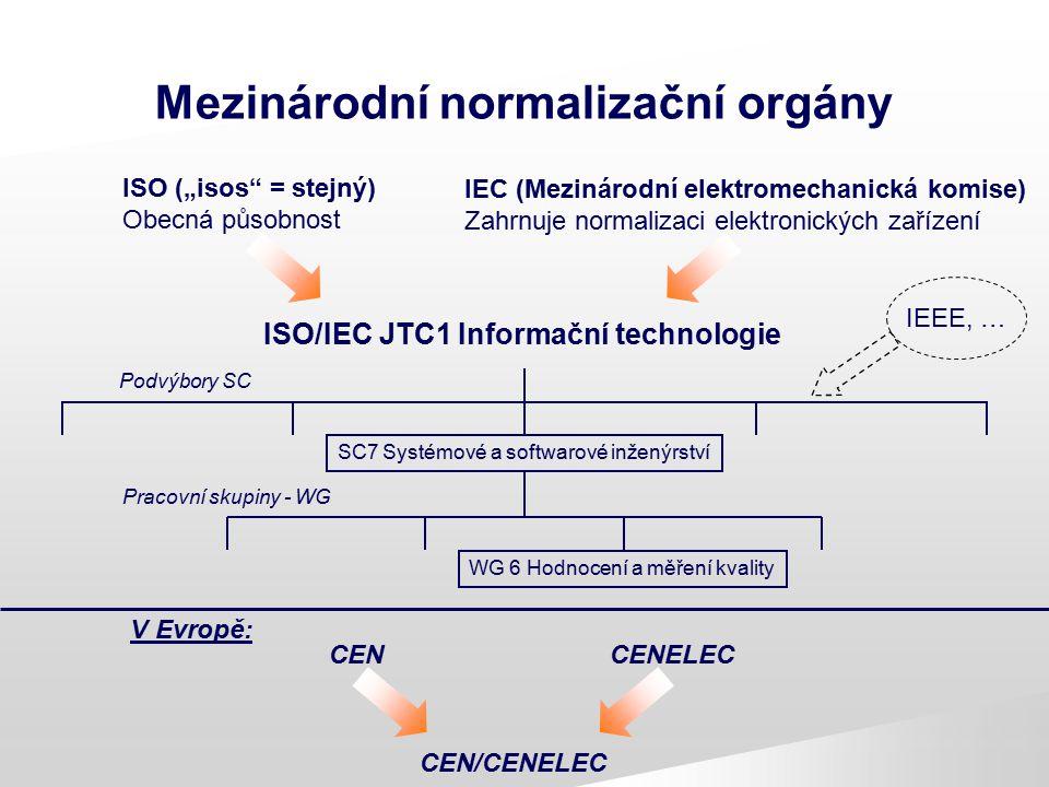 """Mezinárodní normalizační orgány ISO (""""isos"""" = stejný) Obecná působnost ISO/IEC JTC1 Informační technologie IEEE, … Podvýbory SC SC7 Systémové a softwa"""