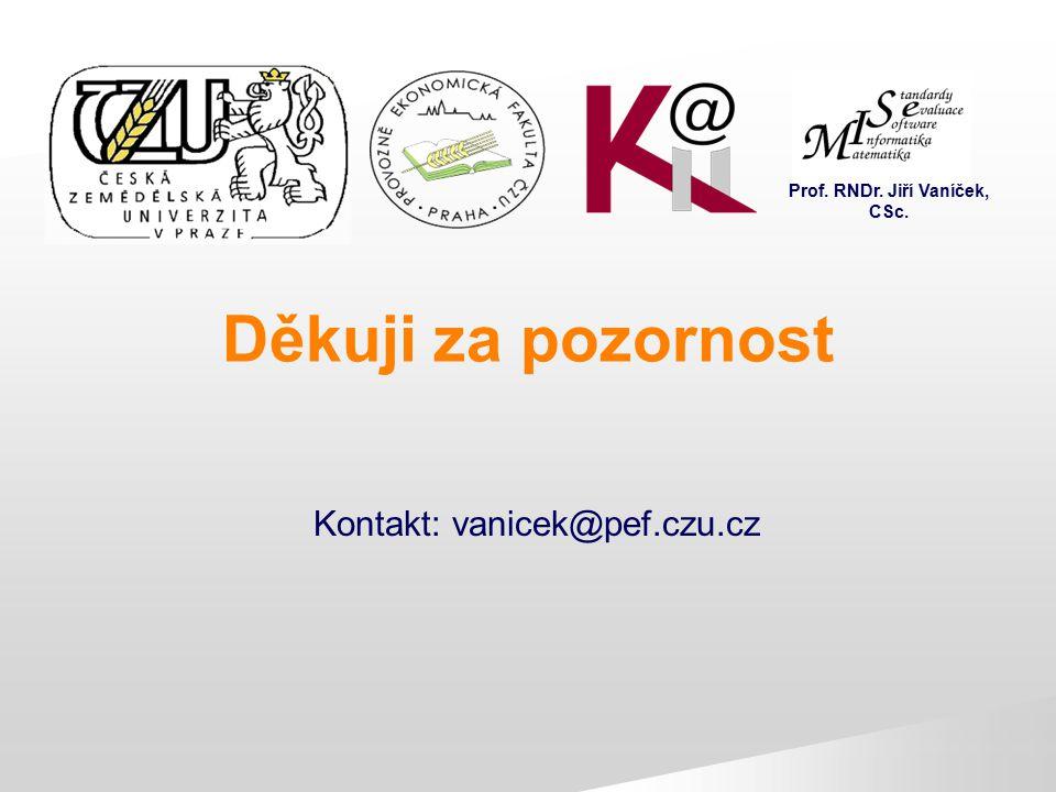 Děkuji za pozornost Kontakt: vanicek@pef.czu.cz Prof. RNDr. Jiří Vaníček, CSc.