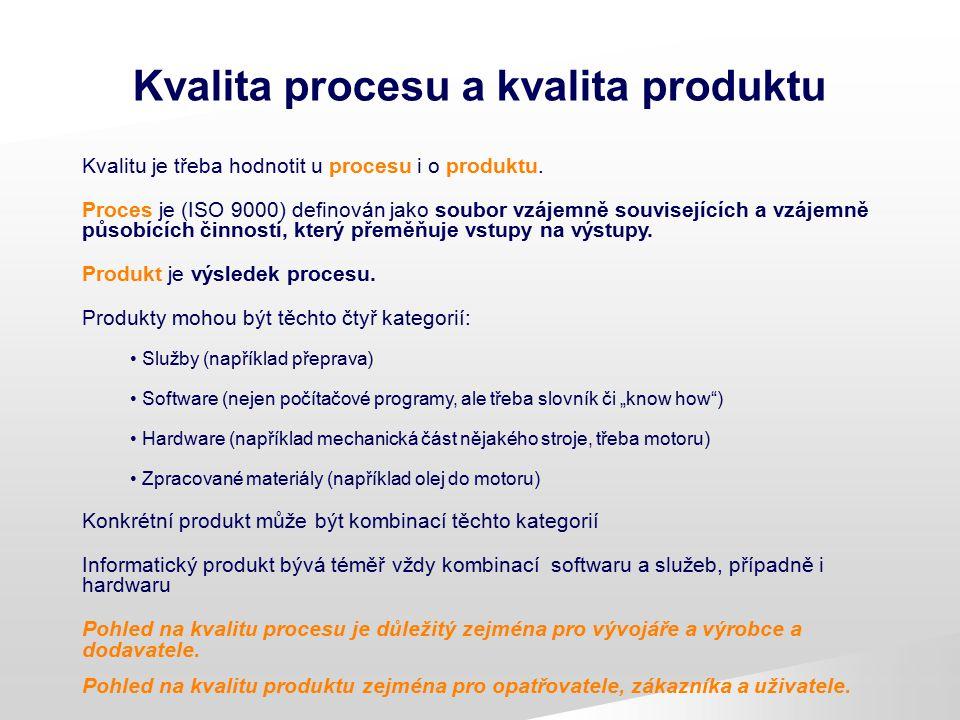 Kvalita SW procesu a produktu Předmětem hodnocení kvality může být: a) Proces vývoje a výroby produktu Zajímá především vývojáře a výrobce Požadavky lze stanovit do značné míry Obecně pro různé druhy produktů.